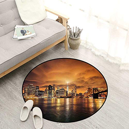 - Cityscape Kids Rugs Manhattan at Sunset New York from Brooklyn Reflections Seaport Scenery Print Sofa Coffee Table Mat 5'3