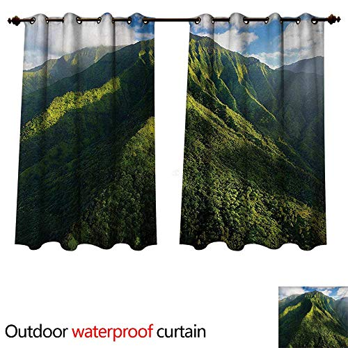- WilliamsDecor Mountain Outdoor Balcony Privacy Curtain Aerial View of Jungle Forest on The Mountains Tropical Exotic Hawaii Nature W55 x L45(140cm x 115cm)