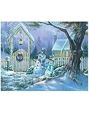 VOSAREA Pintura Diamante de Paisaje de Invierno de Noche de Punto de Cruz para Decoración de Navidad 30x25cm