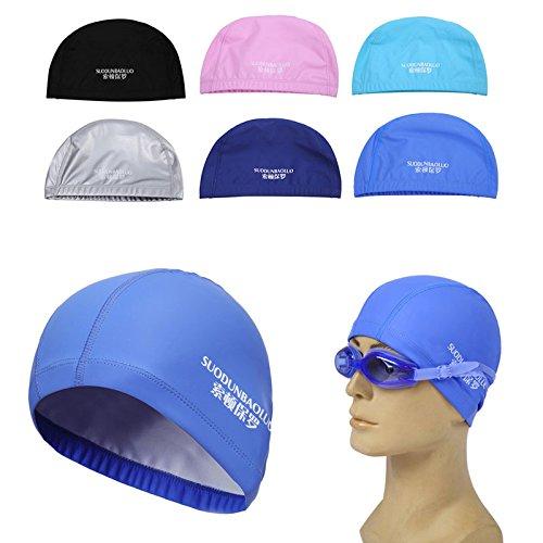 Dairyshop Unisexe Homme étanche Bonnet de bain Sports piscine Bain élastique oreille Cheveux Tête Chapeau