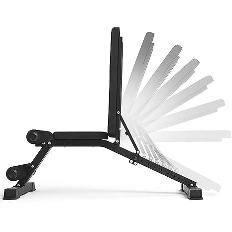 Lxn Banco con mancuernas profesional, sentarse banco de ejercicio de entrenamiento plegable de fitness banco