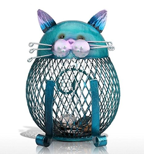 Homespun Blue Cat Shaped Piggy Bank Metal Coin Bank Money Box Money 9.4 X 10.8 X 14.4 Cm Home Decor Favor Gift Table Desk Accessories