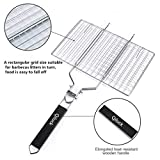 Qiluck Grilling Basket, Portable and Foldable 430 Stainless Steel BBQ Grill Basket Roast for Fish, Vegetable, Steak, Shrimp with Detachable Wooden Handle And Easy Carrying Bag (32x 22cm)