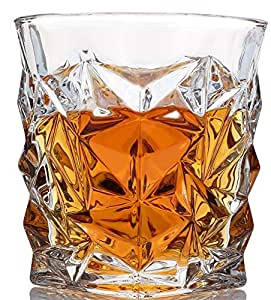 Diamond Whiskey Glasses Luxury Gift Box Set of 4. Lead Free Modern Crystal. Perfect Gift of Whisky Tumblers Glass as a Birthday present, Fathers and Mothers day, Christmas present. Money back satisfaction guarantee.