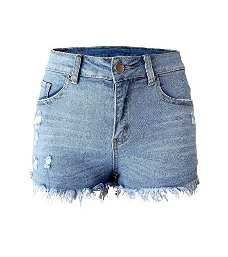 Aodrusa Womens Ripped Denim Shorts Mid Rise Body Enhancing Curvy Cutoff Distressed Jeans Light Blue US 14-16 (Best Jeans For A Curvy Body)