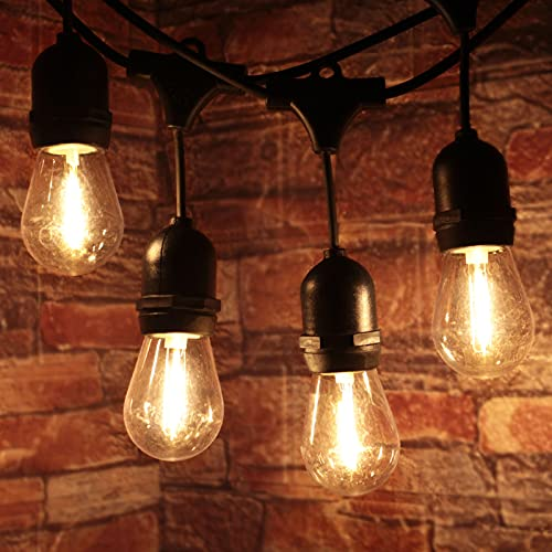 Extendable 48FT S14 Outdoor String Lights (Commercial Grade & Super Bright & Weatherproof), 15 Shatterproof S14 Bulbs Edison Vintage Style Outdoor Patio Lights for Party, Backyard, Bistro, Pergola