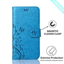 Galaxy Core LTE G386W Case, LIKESEA Butterfly Floral Series Leather Wallet Case Flip Cover with Card Slot and Magnetic Closure for Samsung Galaxy Core LTE G386W - Blue