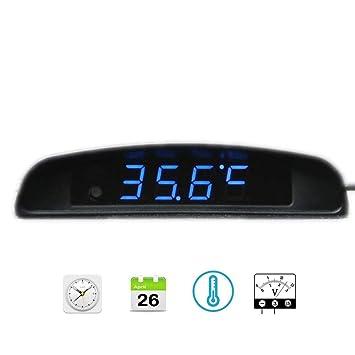 Amazon.es: Boomboost 4In1 Coche Fecha Reloj Voltímetro Termómetro Monitor de Voltaje 12V Original Car Interior Exterior Multifunción