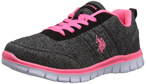 U.S. Polo Assn.(Women's) Women's Cece Fashion Sneaker, Black Heather Jsy/Hot Pink, 8 M US