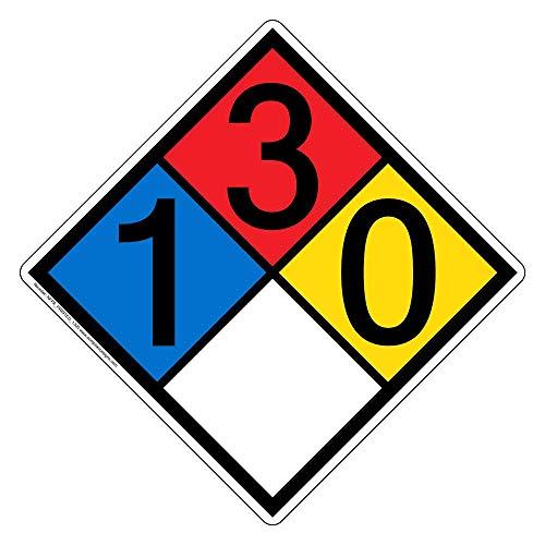 ComplianceSigns Vinyl NFPA 704 Hazmat Diamond Label with 1-3-0-0 Rating, 10 x 10 in. Multi Color