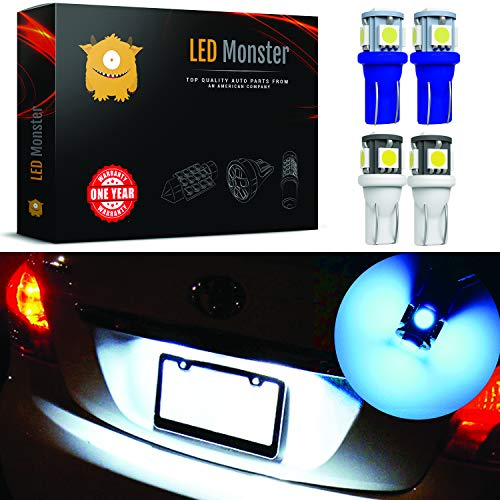 LED Monster Two Color License Plate Set 2x White + 2x Ice Blue LED Bulbs 5 SMD Car License Plate Lights Lamp 12V 168 194 T10 5-SMD