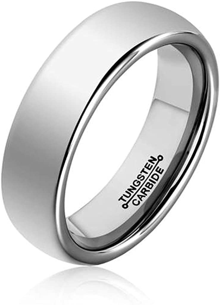 Bishilin Tungsten Brushed Finish Domed Comfort Fit Black 4MM Ring Wedding Band for Women Men Size 11