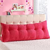 VERCART Sofa Bed Large Filled Triangular Wedge Cushion Bed Backrest Positioning Support Pillow Reading Pillow Office Lumbar Pad with Removable Cover Rose 59x7.9x19inch