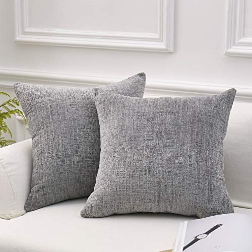 MoMA Decorative Striped Chenille Throw Pillow Covers (Set of 2) - Pillow Cover Sham Cushion Cover - Decorative Sofa Throw Pillow Cover - Square Decorative Pillowcase - Grey - 18
