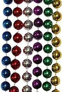 "Mardi Gras, Assorted Metallic Colored Beads, 12 mm, 33"", 25 Dozen (300pcs)."