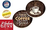 All I Need Is A Little Bit Of Coffee Wood Look Ceramic Car Coaster Pack (Set of 2)