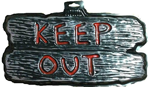 Gothic Warning Sign-KEEP OUT-Door Man Cave Teen Room Halloween Decoration Prop -