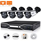 CANAVIS PoE Security Camera System 4 Channel 1080P NVR with (4) 2.0MP IP Network Security Cameras Outdoor Surveillance System with Night Vision 1TB HDD