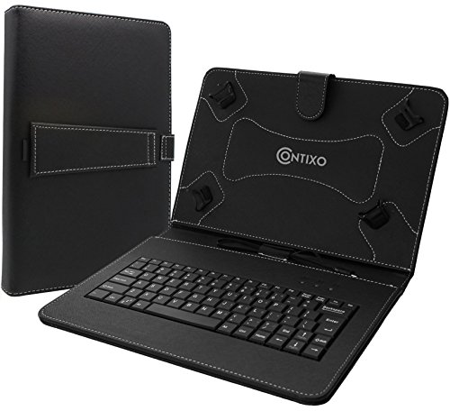 Contixo 10.1'' Tablet Folio Keyboard with Stand Universal PU Leather Case for Contixo Q102/Q103/LR102 Tablet and more 10.1'' or 10'' Tablets
