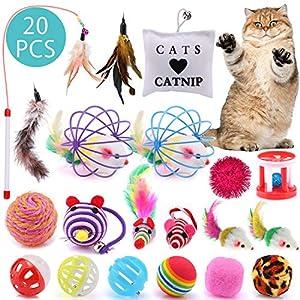 ASANMU Juguete Interactivo para Gatos, 20 Piezas Juguetes para Gatos Ratón y Bolas Varias con Campanas y Plumas, Cabezas de Repuesto Catnip Ball Juguete Gatos Raton Mascota Gato Juguetes Gatito