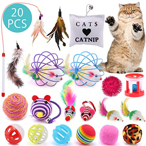 ASANMU Katzenspielzeug, 20 Stück Spielzeug Katzen Katze Toys Variety Pack Interaktives Spielzeug mit Federn Maus Katze…
