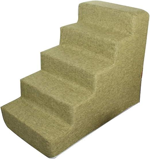 Suministros de mascotas Mascota suave Escaleras 5 pasos de escalera Ligera mascota con algodón y lino de la tela extraíble Cama portable de la mascota de escalera for pequeñas y medianas mascotas:
