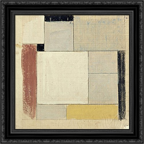 Theo Floor - Preliminary Design for The Floor 20x20 Black Ornate Wood Framed Canvas Art by Theo Van Doesburg