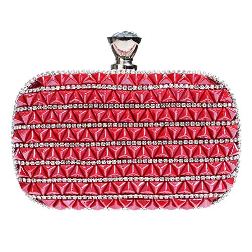 Wallet Womens Handbags Rhinestones Evening Chain Party Bags For Elegant Clutches Purse Red fvwqYZw