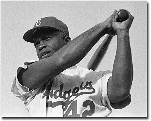 Jackie Robinson Swinging Baseball Bat 8x10 Silver Halide Photo Print