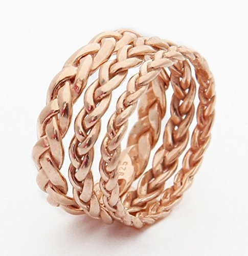 White Gold or Yellow Gold Handmade Rose Gold Braided Wedding Band Rose Gold available in 3 widths