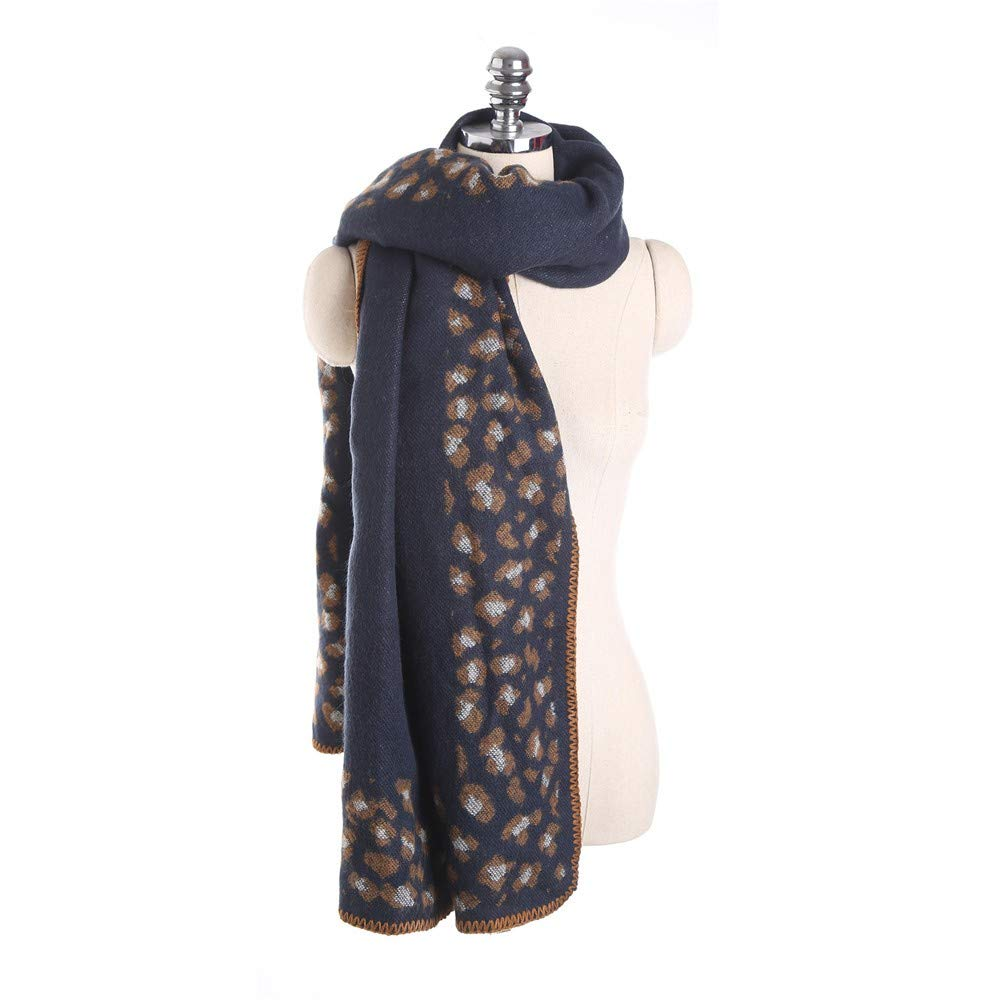 Women Winter Thick Leopard Tassel Cashmere Soft Long Scarf Shawl Wrap Cover