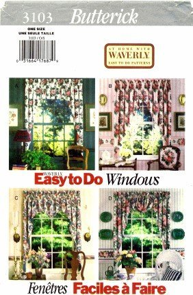 Home Decor Pattern Valances (Butterick 3103 Sewing Pattern Home Decor Valances & Shades)