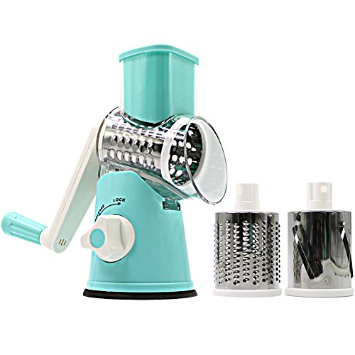 SLC Swift Rotary Drum Grater Vegetable Cheese Cutter Slicer Shredder Grinder with 3 Interchanging Ultra Sharp Cylinders Stainless Steel (Rotary Slicer)