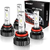 SEALIGHT 9005/HB3 High Beam H11/H9 Low Beam LED Headlight Bulbs Combo Package CSP Chips 6000LM 6000K
