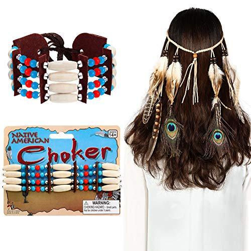 2 Pieces Indian Costume Accessory Set Includes Native American Choker and Peacock Feather Head Chain Indian Bohemian Headband for Women -