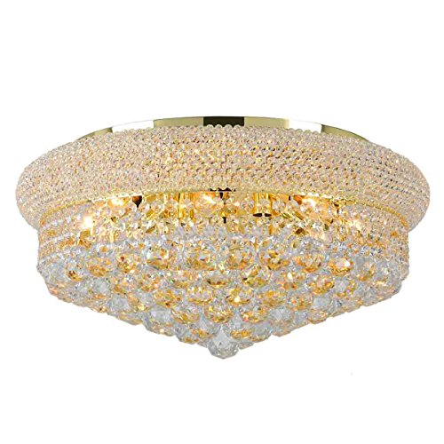 Worldwide Lighting Empire Collection 10 Light Gold Finish and Clear Crystal Flush Mount Ceiling Light 20
