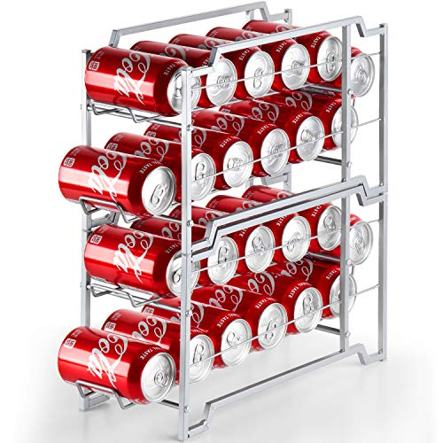 Bextsware Beverage Can Dispenser 2 Pack, Stackable Soda Can Rack Organizer For Refrigerator, Pantry Organization And Storage, Holds 24 Standard Size 12Oz Soda Cans Or Canned Food, Silver