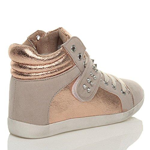 Damen Flach Schnüren High Top Sneakers Sport Spitzen Hohe Turnschuhe Größe Bronze mit Nieten