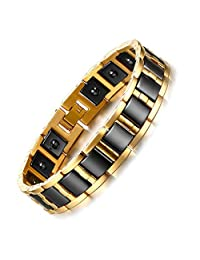 Rainso Jewelry Tungsten Hematite Mens Bracelet Black & Gold Tow Tone + Free Link Removal Tool