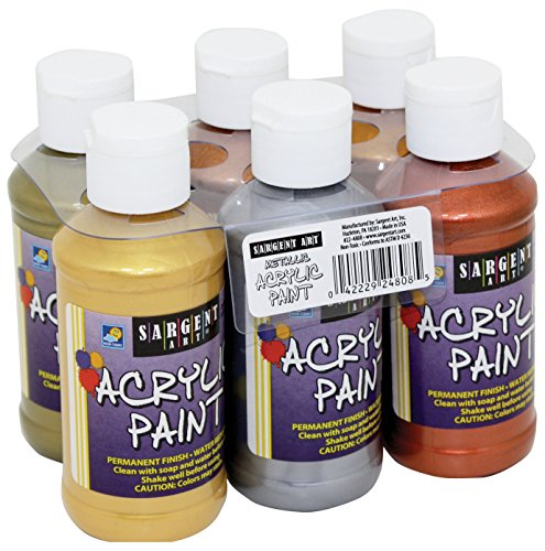 Sargent Art Metallic Acrylic Paint Set, - Silver Painting Fabric