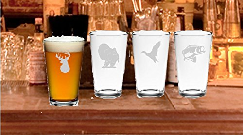 Outdoorsman Etched Glasses Choice of Pilsner, Beer Mug, Pub, Wine Glass, Coffee Mug, Rocks, Nonic Pint of 4 Turkey, Duck, Bass and Deer Etched - Glass Etched Duck