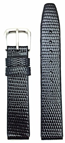 (15mm Short, Black Genuine Leather Watch Band | Round Lizard Grain, Flat Replacement Wrist Strap That Brings New Life to Any Watch (Womens Short Length))