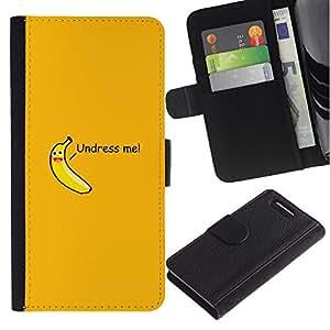 KingStore / Leather Etui en cuir / Sony Xperia Z1 Compact D5503 / Desvestirse citarme Babana atractivo divertido