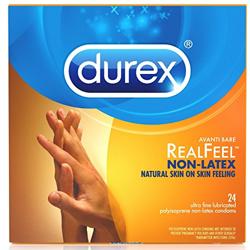 Durex Condom Real Feel Non Latex Condoms, 24 Count - Ultra Fine & Lubricated for skin on skin feeling