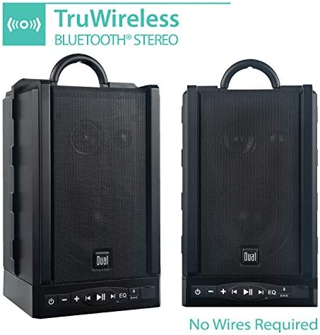 Dual Electronics LU48BTS Wireless Portable Bluetooth Speakers | TruWireless Stereo | 100ft Wireless Range | Loud & Deep Rich Bass | 12 Hour Playtime | IPX4 | No Wires Needed | Sold in Pairs 51M5IGf9RKL