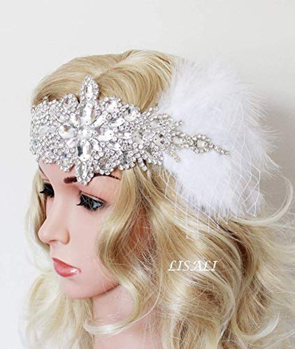 LISALI Stunning High Sparkle Flapper Headband,Crystal Headband,Halo Bridal Hair Pieces,White Fascinator,1920s Great Gatsby - Ensemble Halo