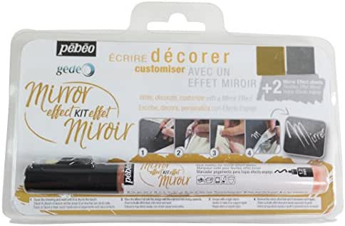 Pebeo Gedeo, Mirror Effect Kit, 1.2 mm Gilding Paste Marker + 2 Mirror Effect Sheets