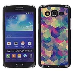 rígido protector delgado Shell Prima Delgada Casa Carcasa Funda Case Bandera Cover Armor para Samsung Galaxy Grand 2 SM-G7102 SM-G7105 /Teal Beige Purple Pattern Calm/ STRONG
