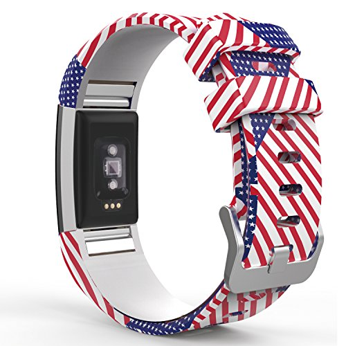MoKo Fitbit Charge 2 Band, Fourth of July Soft Silicone Adjustable Replacement Strap for 2016 Fitbit Charge 2 Heart Rate + Fitness Wristband, Wrist Length 5.70-8.26, Patchwork US Flage