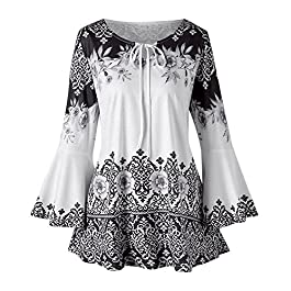 MRULIC Women's Vintage Printed Long Flare Sleeve Keyhole Tops